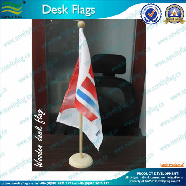 Table flag with Wooden pole and base, Classical Style!!!