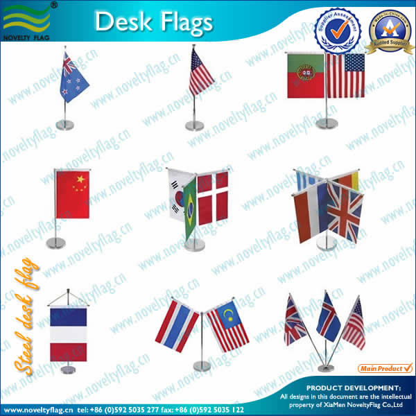 Stainless steel table flag base and pole, 100% polyester flag
