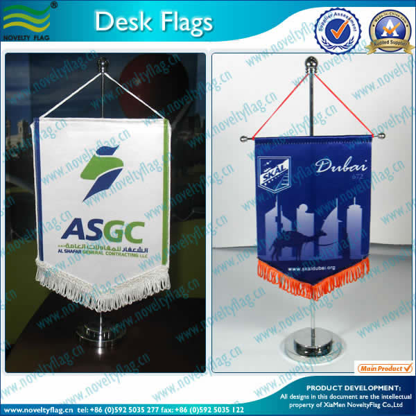 Table flag, golden stand