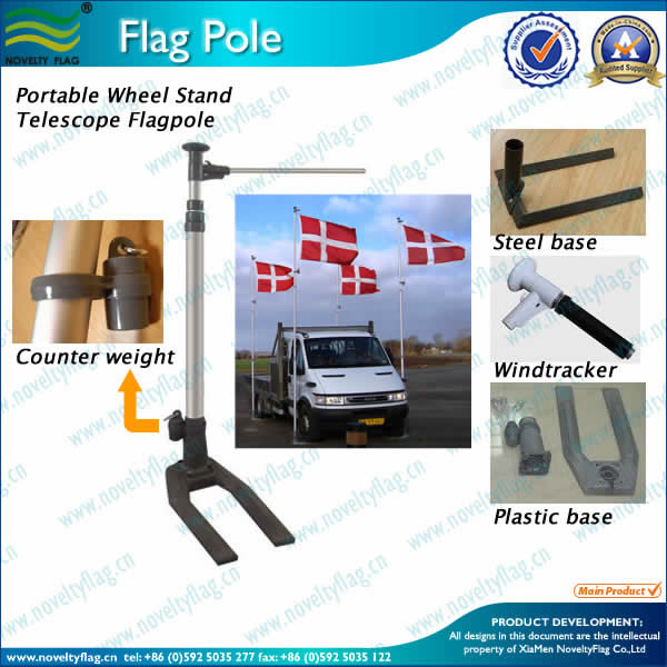 6Meters Portable Telescopic Car-Wheel Flagpole