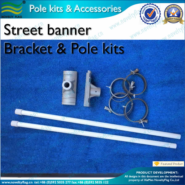 Street banner pole bracket  and flagpole