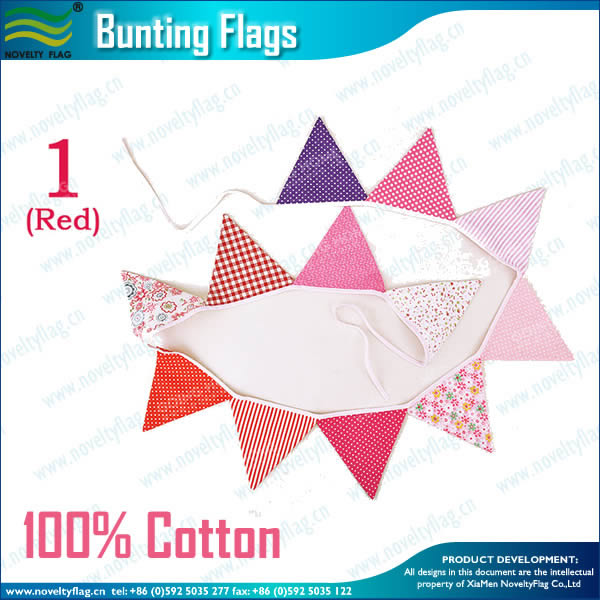 Cotton Triangle Flags Bunting(Red)