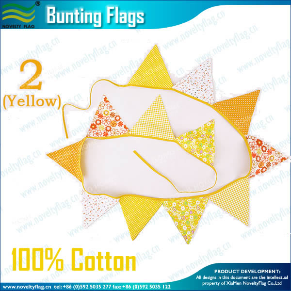Cotton Triangle Flags Bunting(Yellow)
