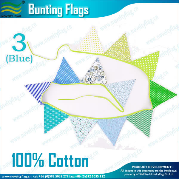 Cotton Triangle Flags Bunting(Blue)